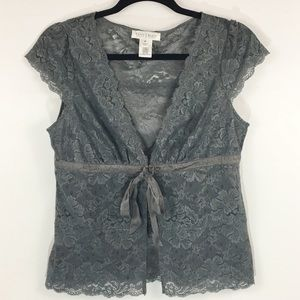 WHBM Gray Lace Top